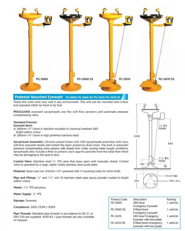 Proguard Pedestal Mounted Eyewash with Foot Pedal
